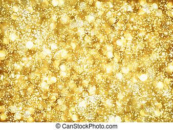 luzes, abstratos, fundo, dourado