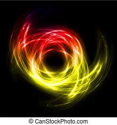 luzes, abstratos, linhas, torção, experiência., vetorial