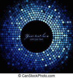 luzes azuis, quadro, vetorial, discoteca