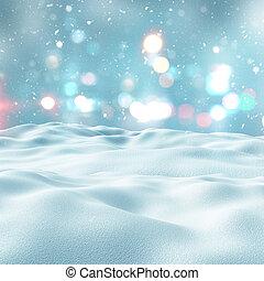 luzes, bokeh, 3d, paisagem, nevado