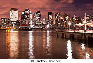 luzes cidade, midtown, skyline, york, noturna, novo, manhattan