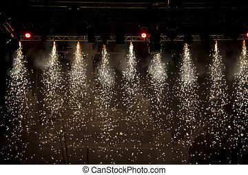luzes, cintilante, teatro