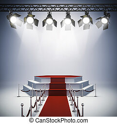 luzes, configurar, fase, mancha, 3d