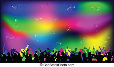 luzes, discoteca, partido, pessoas experiência