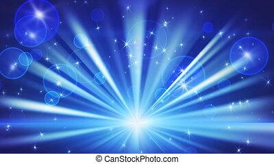 luzes, e, brilhar, estrelas, azul, volta
