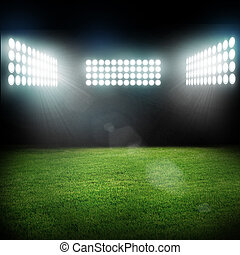 luzes, estádio, flashes