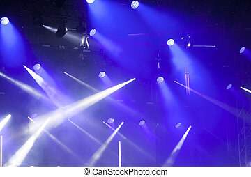 luzes estágio, ligado, concerto