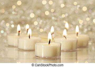 luzes, feriado, celebrações, grupo, chá