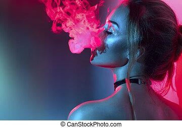 luzes, fumar, retrato, luminoso, menina, moda, smoke., ...