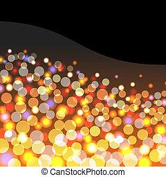 luzes, fundo, dourado, abstratos