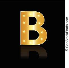 luzes, glowing, b, letra, logotipo