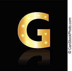 luzes, glowing, carta g, logotipo