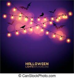 luzes, glowing, dia das bruxas