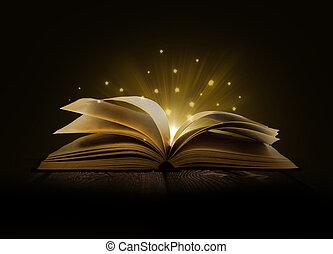 luzes, imagem, livro, magia, aberta