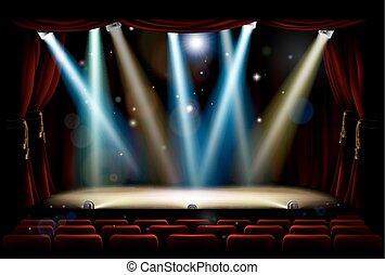 luzes, mancha, teatro, fase