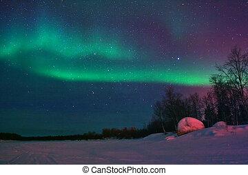 luzes, mostrando, céu, fundo, norte