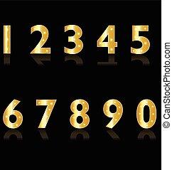 luzes, números, ouro, logotipo