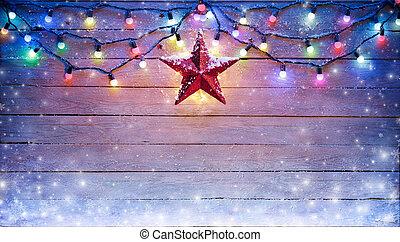 luzes natal, e, estrela, penduradas