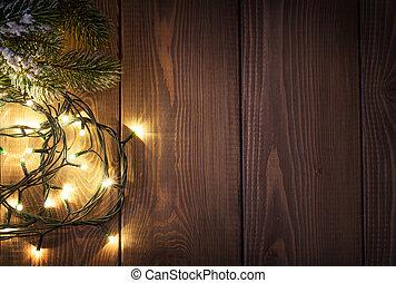 luzes natal, e, neve, árvore abeto