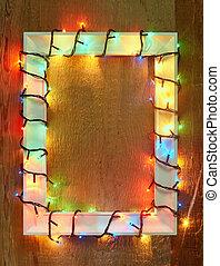 luzes natal, quadro, com, espaço cópia
