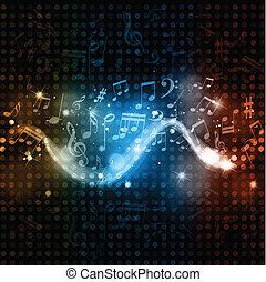 luzes, notas, música, fundo, discoteca