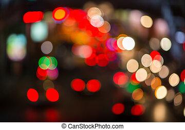 luzes, noturna, tráfego, defocused