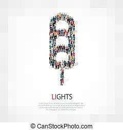 luzes, pessoas, vetorial, tráfego