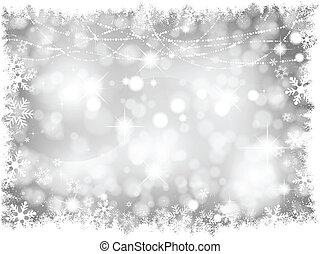 luzes, prata, fundo, natal