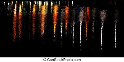 luzes, reflexão, cidade