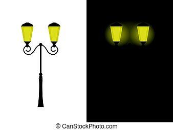 luzes, rua, retro