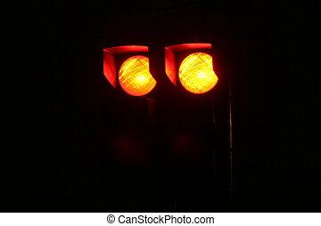 luzes, rua, vermelho