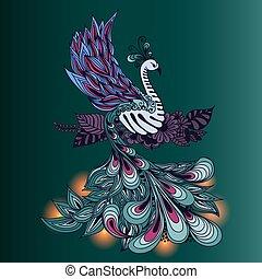 luzes, seu, pássaro, phoenix, tale.