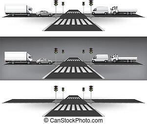 luzes, tráfego, verde