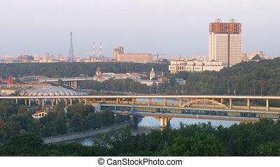 Luzhnetsky bridge-subway, view from Vorobievy Mountains...