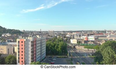Lviv aerial cityscape residential buildings transport railway cargo train