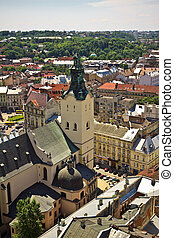 Lviv at summer, Ukraine, view from city hall