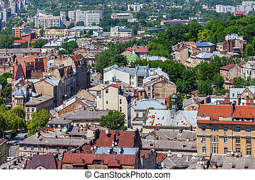 lviv at summer, view from City Hall.