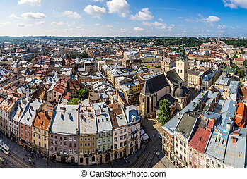 Lviv bird's-eye view - Lviv panoramic bird's-eye view of...