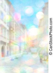 Lviv blurred blue urban building background scene