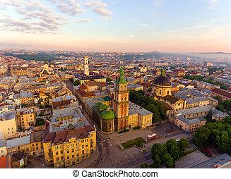 Lviv City, Ukraine. Panorama of the ancient city.
