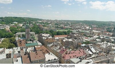 Lviv in summer. Town, nature and sky. Cultural capital of...