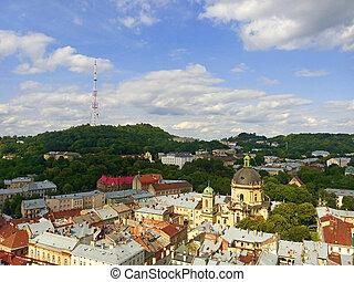 Lviv in Ukraine central district skyline