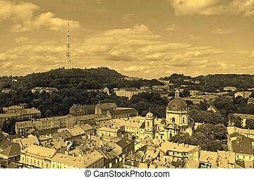 Lviv in Ukraine central district skyline, sepia