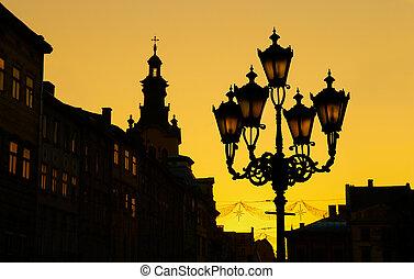 Lviv (Lvov, Lwow), Ukraine - Sunset silhouette of old city...