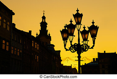 Lviv (Lvov, Lwow), Ukraine - Sunset silhouette of old city...
