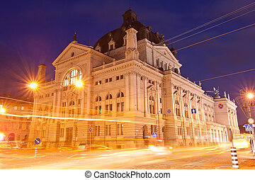 Lviv National Academic Opera and Ballet Theatre in the evening