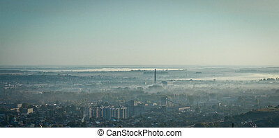 Lviv old city. Morning view from High Castle