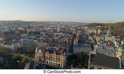 Lviv. The old part of town. Aerial view.