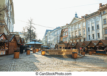 Lviv, Ukraine - January 1, 2017: Christmas and New Year Fair in the historical center of Lviv on Market Square on January 1, 2017 in Lvov, Ukraine