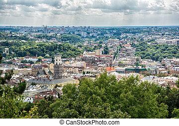 Lviv, Ukraine old city top view panorama